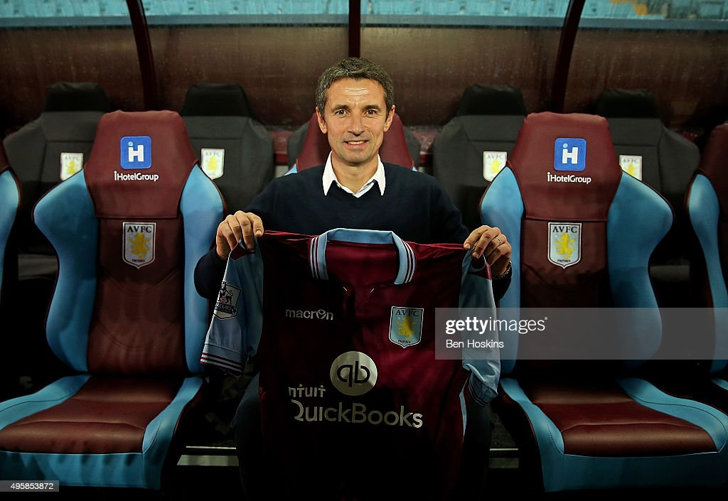 Aston Villa manager <a gi-track='captionPersonalityLinkClicked' href=/galleries/search?phrase=Remi+Garde&family=editorial&specificpeople=2334252 ng-click='$event.stopPropagation()'>Remi Garde</a> speaks during a press conference at Villa Park on November 5, 2015 in Birmingham, England.