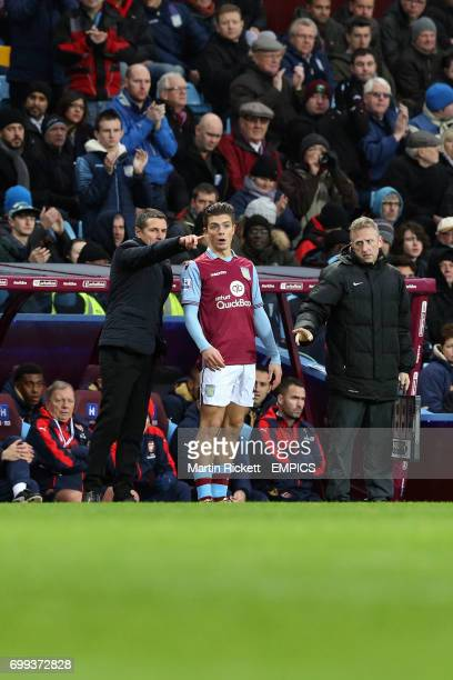 Aston Villa manager Remi Garde talks to Jack Grealish