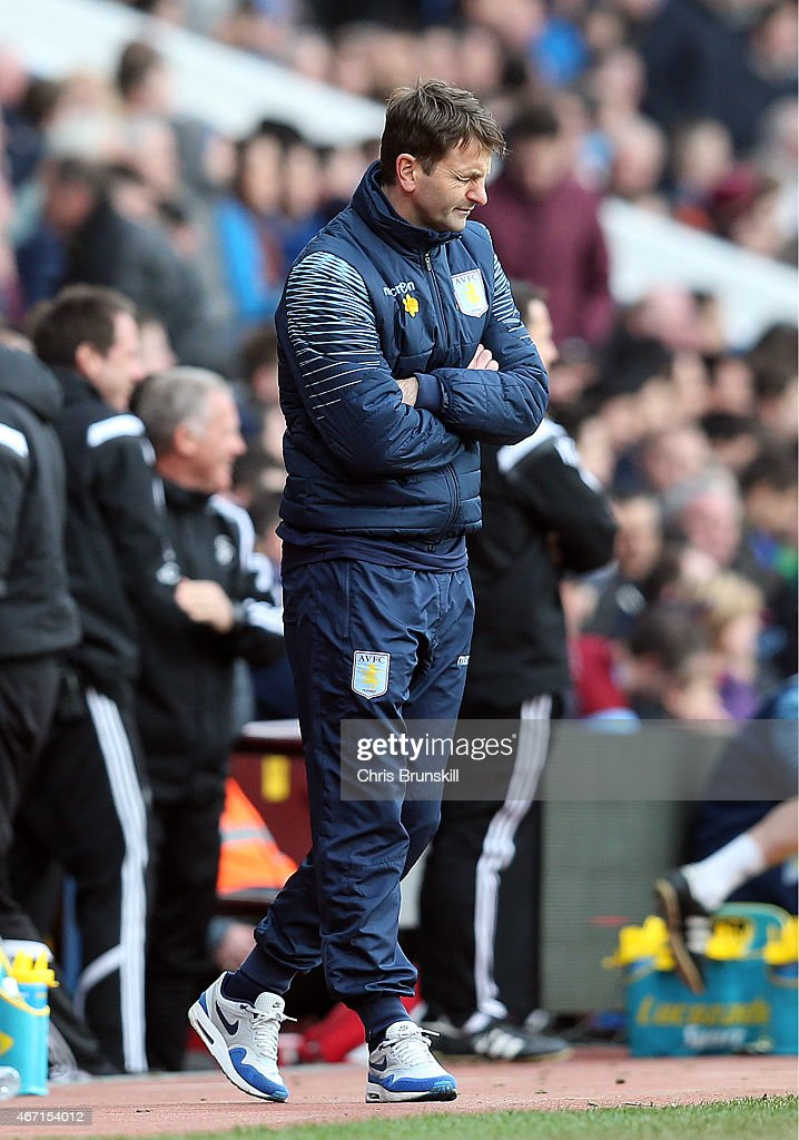 Aston Villa manager Tim Sherwood looks dejected during the Barclays Premier League match between Aston Villa and Swansea City at Villa Park on March 21, 2015 in Birmingham, England.
