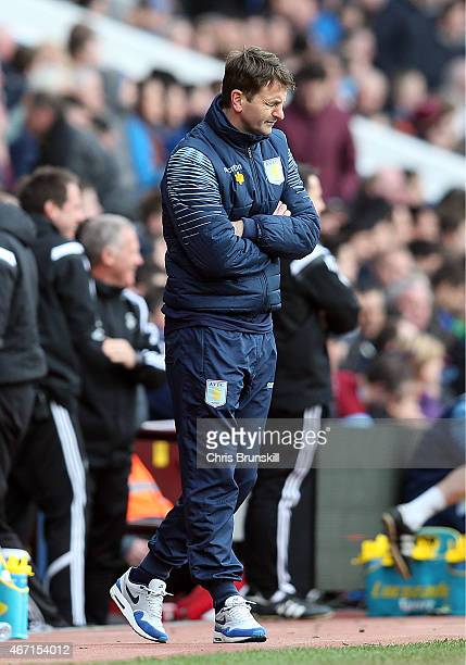 Aston Villa manager Tim Sherwood looks dejected during the Barclays Premier League match between Aston Villa and Swansea City at Villa Park on March...