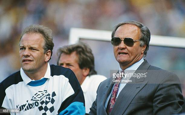 Aston Villa mananger Ron Atkinson and coach Andy Gray look on during a League Division One match between Sheffield Wednesday and Aston Villa at...