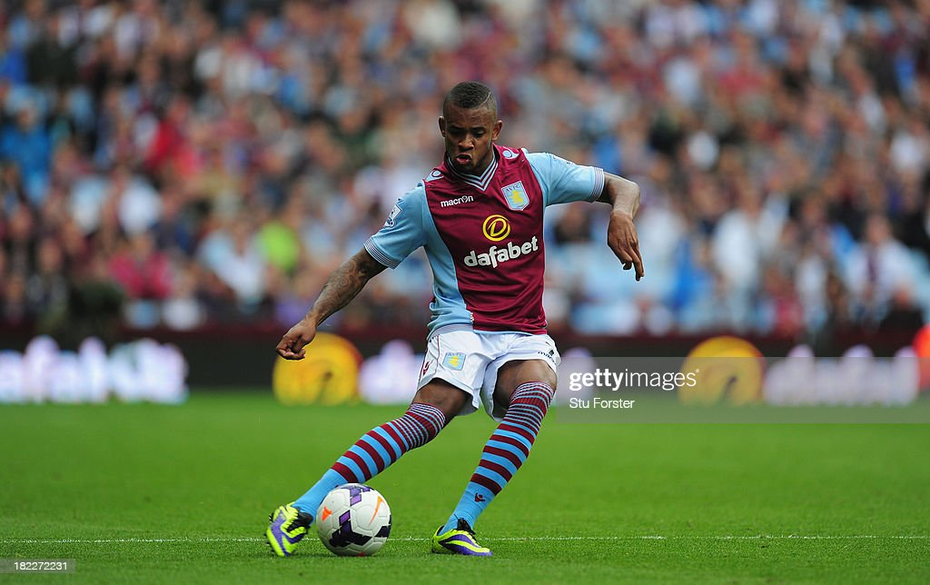 Aston Villa player Leandro Bacuna in action during the Barclays Premier League match between Aston Villa and Manchester City at Villa Park on September 28, 2013 in Birmingham, England.