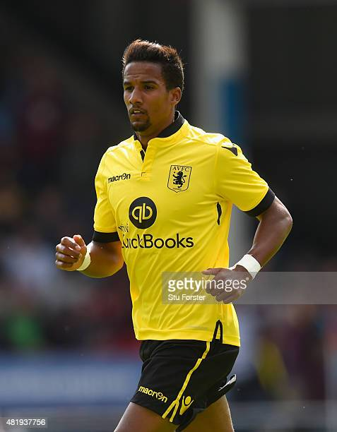 Aston Villa player Scott Sinclair in action during the pre season friendly between Walsall and Aston Villa at Banks' Stadium on July 25 2015 in...