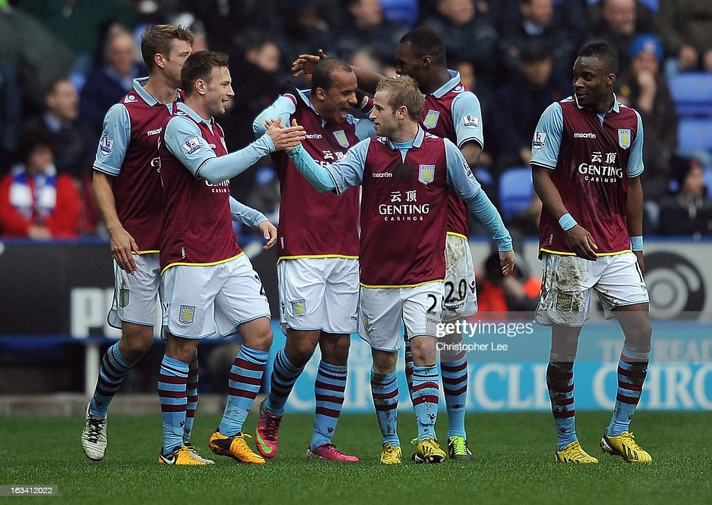Aston Villa players celebrate their second goal scored by <a gi-track='captionPersonalityLinkClicked' href=/galleries/search?phrase=Gabriel+Agbonlahor&family=editorial&specificpeople=662025 ng-click='$event.stopPropagation()'>Gabriel Agbonlahor</a> during the Barclays Premier League match between Reading and Aston Villa at Madejski Stadium on March 9, 2013 in Reading, England.