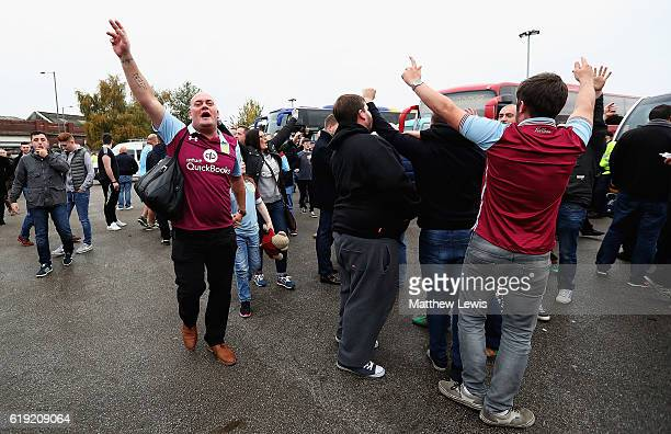 Aston Villa supporters arrive ahead of the Sky Bet Championship match between Birmingham City and Aston Villa at St Andrews on October 30 2016 in...