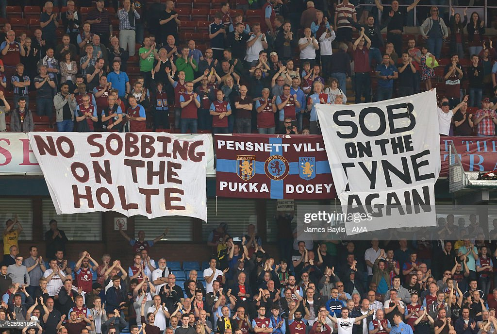 Aston Villa supporters display a banner saying 'sob on the Tyne again' after the Barclays Premier League match between Aston Villa and Newcastle United at Villa Park on May 7, 2016 in Birmingham, United Kingdom.