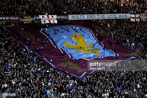 Aston Villa supporters with a giant flag in the Holte End prior to the FA Cup Quarter Final match between Aston Villa and West Bromwich Albion at...
