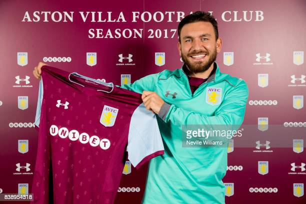 Aston Villa unveil new signing Robert Snodgrass at Bodymoor Heath training ground on August 25 2017 in Birmingham England