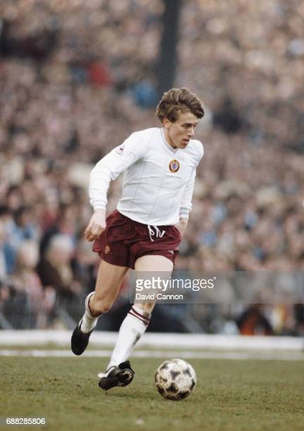 Aston Villa winger Tony Morley in control of an Adidas Tango Football during an FA Cup 6th Round match at Highbury against Arsenal on March 12 1983...