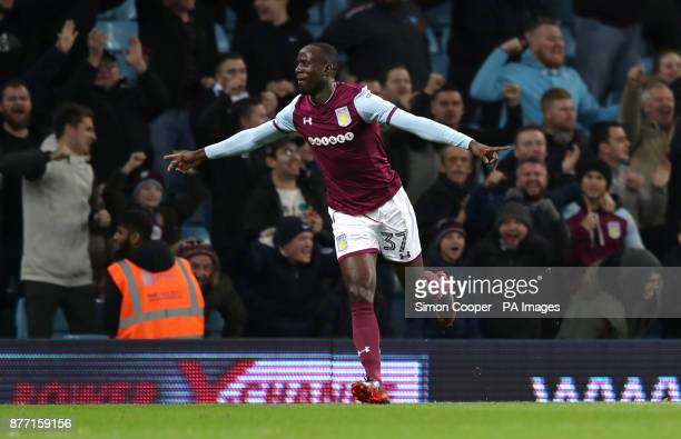 Aston Villa's Albert Adomah celebrates scoring his side's first goal of the game during the Sky Bet Championship match at Villa Park Birmingham