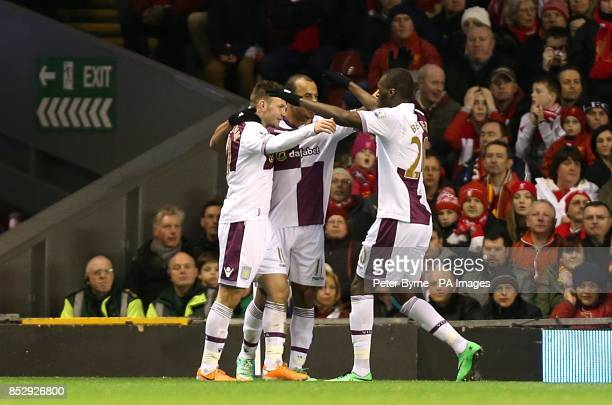 Aston Villa's Andreas Weimann celebrates scoring their first goal of the game with teammates Gabriel Agbonlahor and Christian Benteke