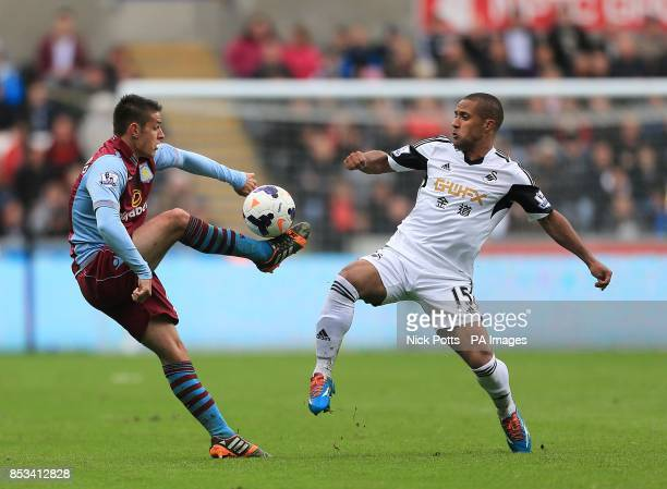 Aston Villa's Ashley Westwood and Swansea City's Wayne Routledge