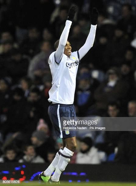 Aston Villa's Ashley Young celebrrates scoring their fourth goal