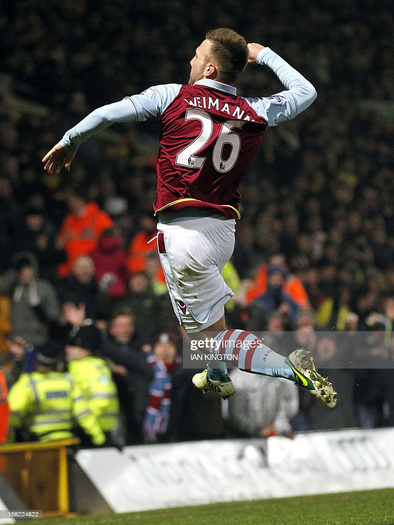 Aston Villa's Austrian striker Andreas Weimann celebrates scoring a goal against Norwich City during their English League Cup quarter final football match at Carrow Road stadium in Norwich, east England, on December 12, 2012.
