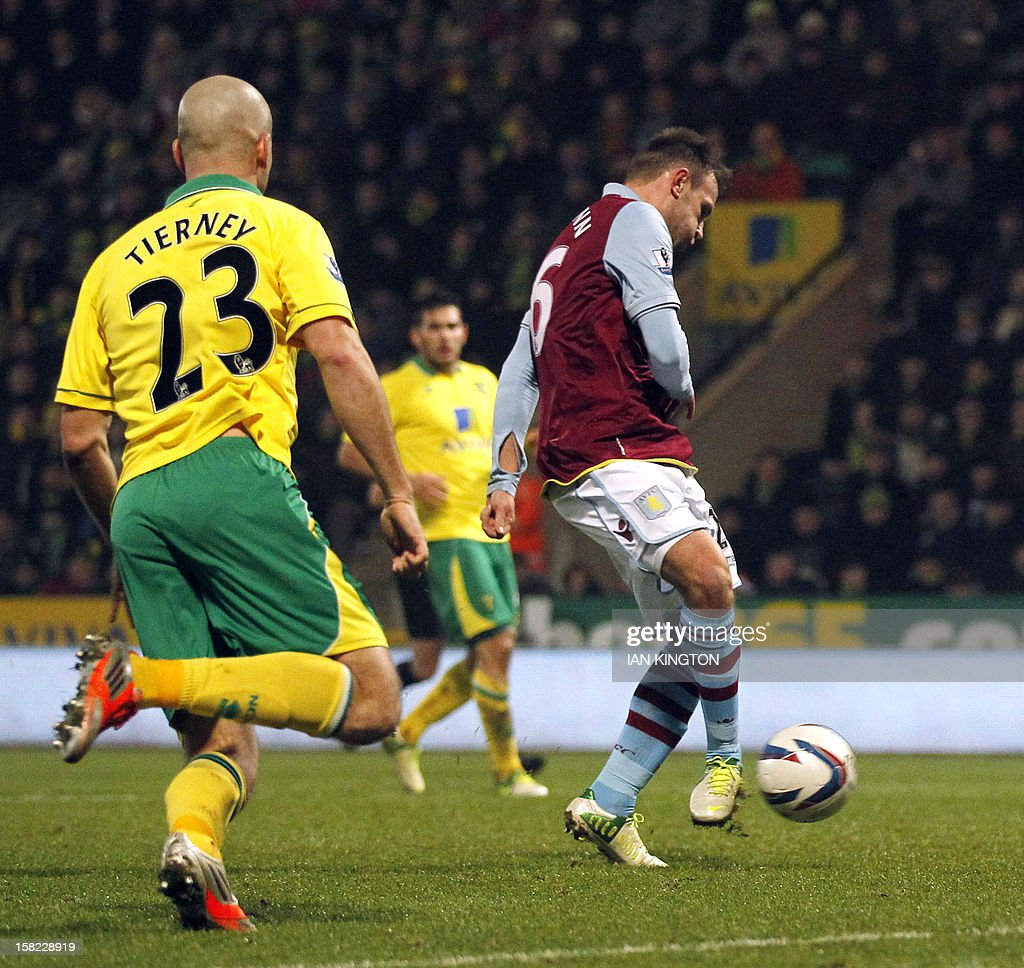 Aston Villa's Austrian striker Andreas Weimann (R) scores a goal against Norwich City during their English League Cup quarter final football match at Carrow Road stadium in Norwich, east England, on December 11, 2012.