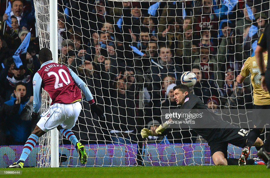 "Aston Villa's Belgian forward Christian Benteke (L) scores past Bradford City's English goalkeeper Matt Duke during the English League Cup second leg semi-final football match between Aston Villa and Bradford City at Villa Park, Birmingham, England on January 22, 2013. AFP PHOTO/ANDREW YATES == ""RESTRICTED TO EDITORIAL USE. No use with unauthorized audio, video, data, fixture lists, club/league logos or ""live"" services. Online in-match use limited to 45 images, no video emulation. No use in betting, games or single club/league/player publications."" =="