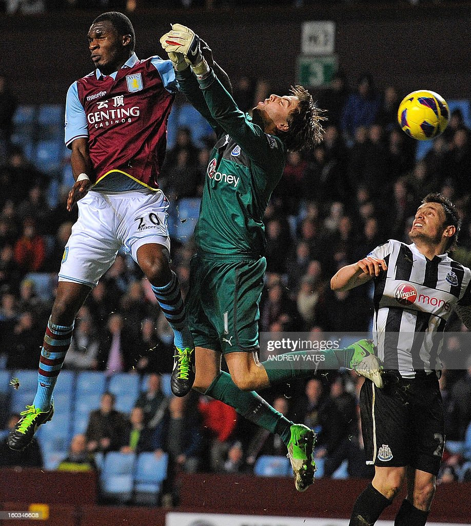 "Aston Villa's Belgian striker Christian Benteke (L) vies with Newcastle United's Dutch goalkeeper Tim Krul (2nd L) during the English Premier League football match between Aston Villa and Newcastle United at Villa Park in Birmingham, West Midlands, England on January 29, 2013. Newcastle won the game 2-1. USE. No use with unauthorized audio, video, data, fixture lists, club/league logos or ""live"" services. Online in-match use limited to 45 images, no video emulation. No use in betting, games or single club/league/player publications."