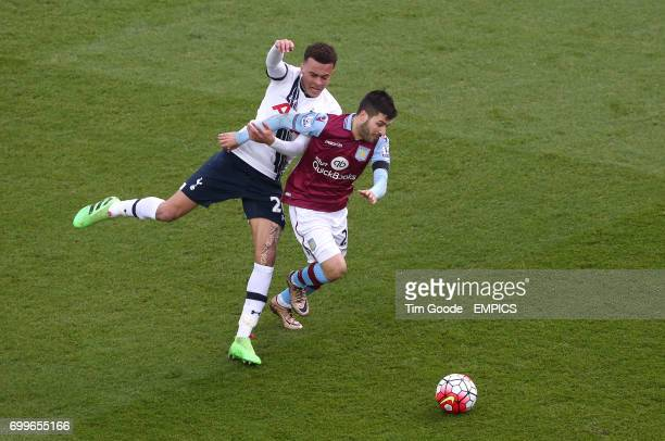 Aston Villa's Carles Gil and Tottenham Hotspur's Dele Alli battle for the ball
