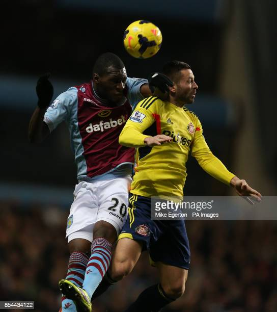 Aston Villa's Christian Benteke and Sunderland's Phil Bardsley in action during the Barclays Premier League match at Villa Park Birmingham
