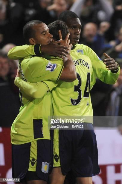 Aston Villa's Christian Benteke celebrates his winning goal with teammates