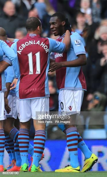 Aston Villa's Christian Benteke celebrates scoring his teams opening goal with teammate Gabriel Agbonlahor