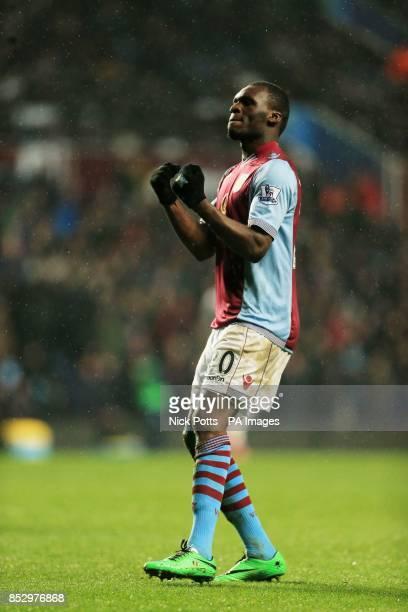 Aston Villa's Christian Benteke celebrates scoring the fourth goal during the Barclays Premier League match at Villa Park Birmingham