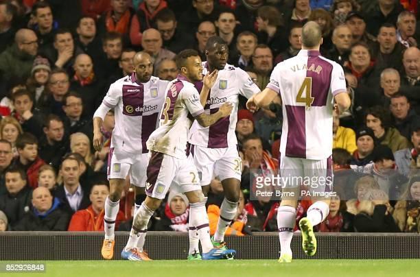 Aston Villa's Christian Benteke celebrates scoring their second goal of the game with teammates
