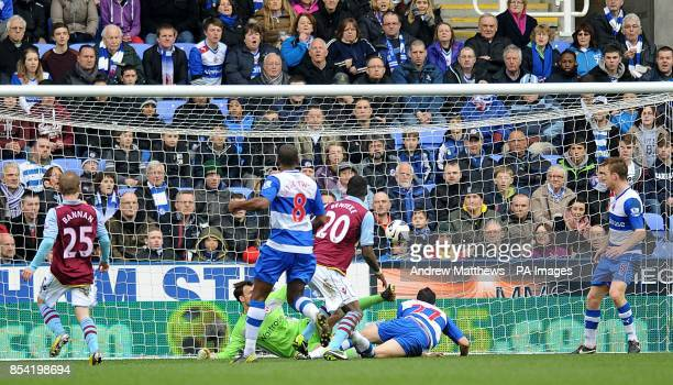 Aston Villa's Christian Benteke scores his side's first goal of the game