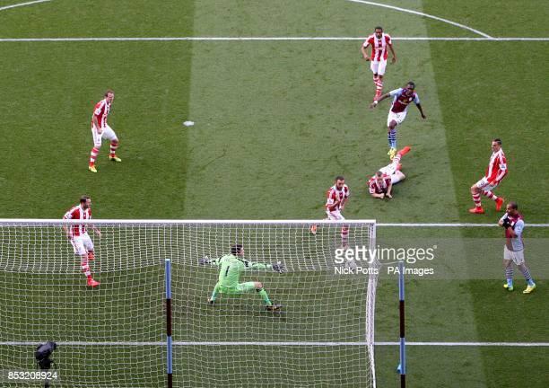 Aston Villa's Christian Benteke scores his teams opening goal