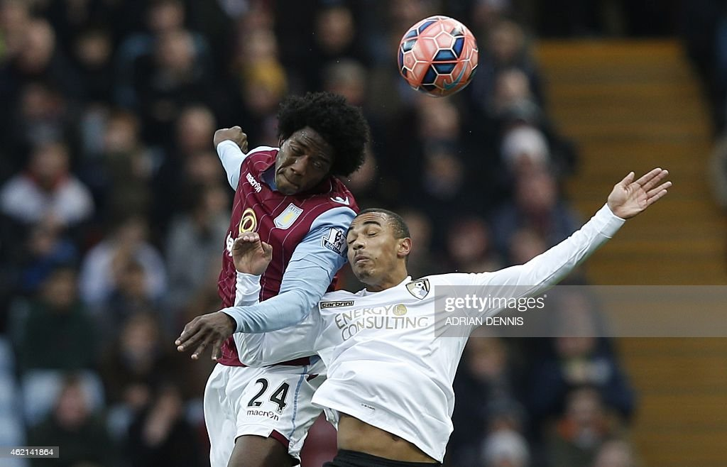 Aston Villa's Colombian midfielder Carlos Sanchez (L) vies with Bournemouth's English midfielder Junior Stanislas (R) during the FA Cup fourth round football match between Aston Villa and Bournemouth at Villa Park in Birmingham, central England on January 25, 2015. USE. No use with unauthorized audio, video, data, fixture lists, club/league logos or live services. Online in-match use limited to 45 images, no video emulation. No use in betting, games or single club/league/player publications. ==