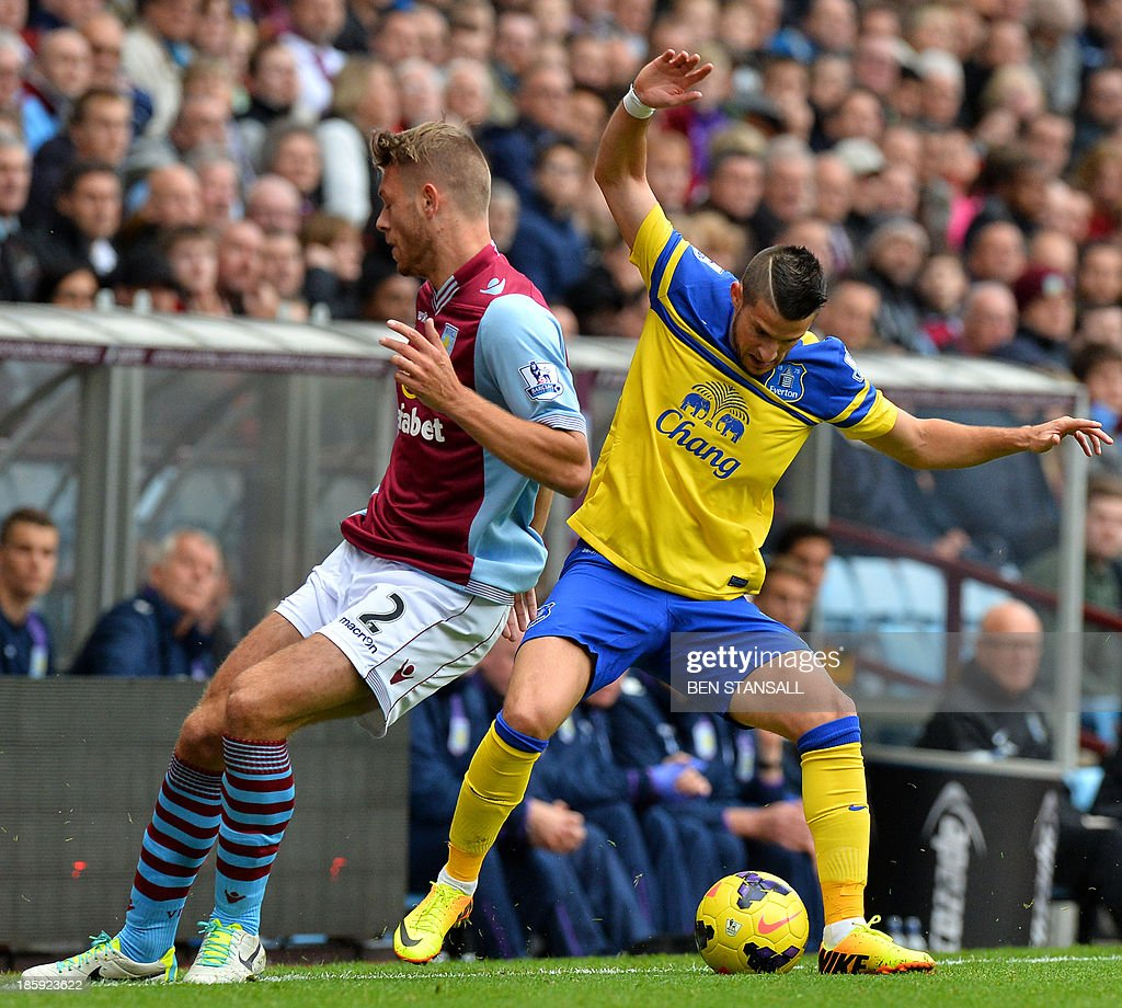 Aston Villa's English defender Nathan Baker (L) vies for the ball with Everton's Belgian striker Kevin Mirallas (R) during the English Premier League football match between Aston Villa and Everton at Villa Park in Birmingham on October 26, 2013. USE. No use with unauthorized audio, video, data, fixture lists, club/league logos or live services. Online in-match use limited to 45 images, no video emulation. No use in betting, games or single club/league/player publications.