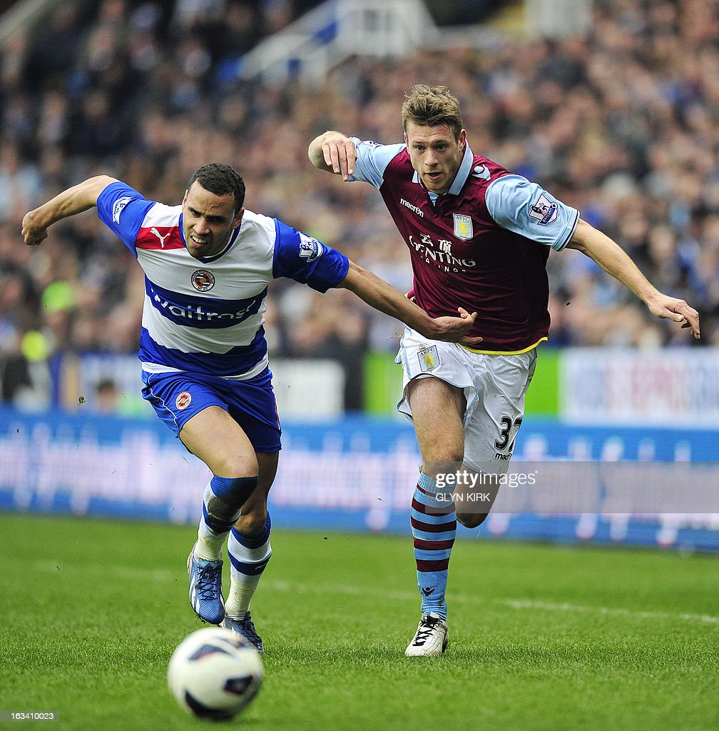 "Aston Villa's English midfielder Nathan Baker (R) vies with Reading's Welsh striker Hal Robson-Kanu (L) during the English Premier League football match between Reading and Aston Villa at the Madejski Stadium in Reading, Berkshire, on March 9, 2013. Aston Villa won 2-1. USE. No use with unauthorized audio, video, data, fixture lists, club/league logos or ""live"" services. Online in-match use limited to 45 images, no video emulation. No use in betting, games or single club/league/player publications"