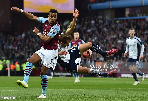 Aston Villa's English midfielder Scott Sinclair vies with West Bromwich Albion's Scottish midfielder Darren Fletcher during the FA Cup quarterfinal...