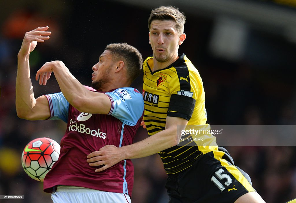 Aston Villa's French-born Beninese striker Rudy Gestede (L) jumps for a header with Watford's Northern Irish defender Craig Cathcart during the English Premier League football match between Watford and Aston Villa at Vicarage Road Stadium in Watford, north of London on April 30, 2016. / AFP / GLYN KIRK / RESTRICTED TO EDITORIAL USE. No use with unauthorized audio, video, data, fixture lists, club/league logos or 'live' services. Online in-match use limited to 75 images, no video emulation. No use in betting, games or single club/league/player publications. /