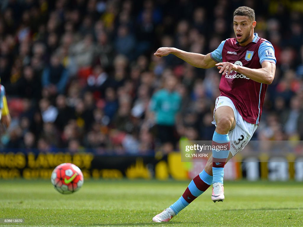Aston Villa's French-born Beninese striker Rudy Gestede passes the ball during the English Premier League football match between Watford and Aston Villa at Vicarage Road Stadium in Watford, north of London on April 30, 2016. / AFP / GLYN KIRK / RESTRICTED TO EDITORIAL USE. No use with unauthorized audio, video, data, fixture lists, club/league logos or 'live' services. Online in-match use limited to 75 images, no video emulation. No use in betting, games or single club/league/player publications. /