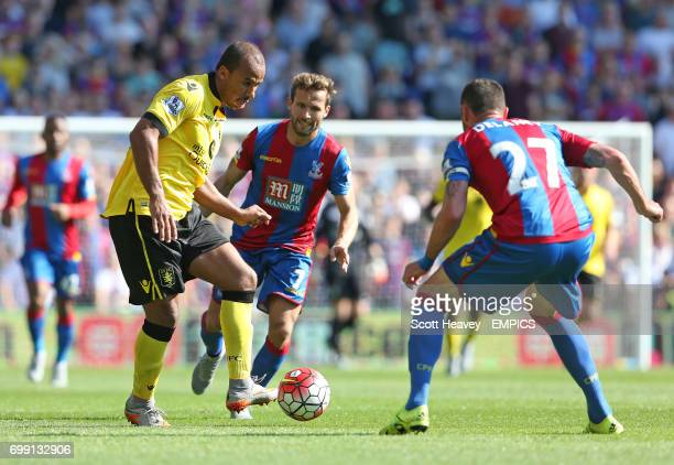 Aston Villa's Gabby Agbonlahor in action with Crystal Palace's Damien Delaney