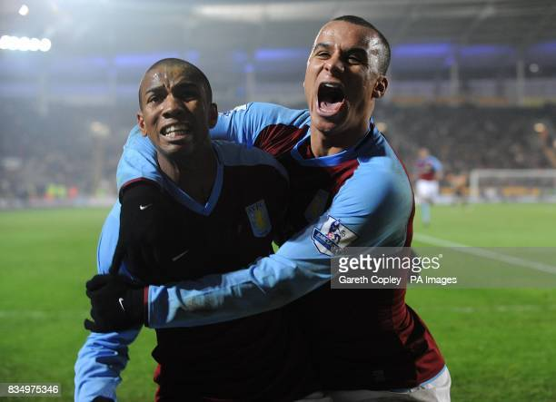 Aston Villa's Gabriel Agbonlahor and Ashley Young celebrate after Hull City's Kamil Zayatte scores on own goal to win the game for Villa