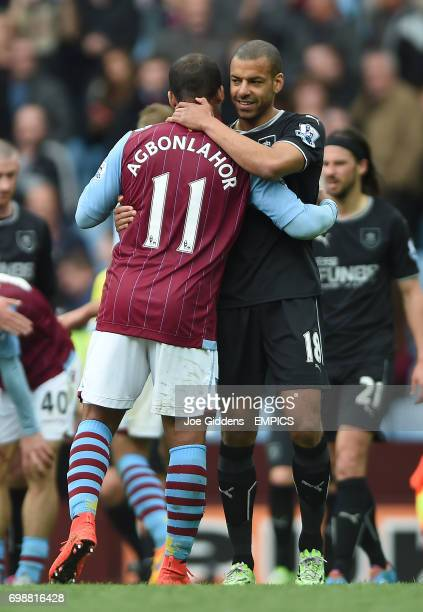 Aston Villa's Gabriel Agbonlahor and Burnley's Steven Reid embrace after the final whistle