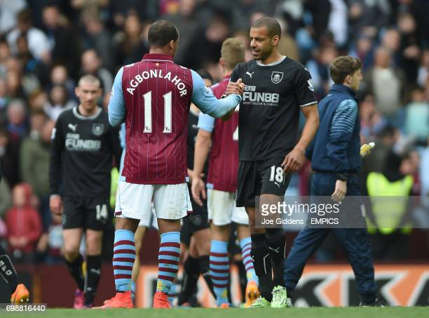 Aston Villa's Gabriel Agbonlahor and Burnley's Steven Reid shake hands after the final whistle