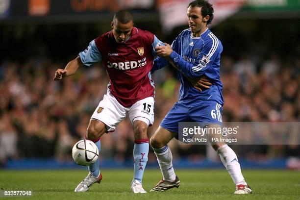 Aston Villa's Gabriel Agbonlahor and Chelsea's Alberto Ricardo Carvalho battle for the ball