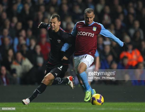 Aston Villa's Gabriel Agbonlahor and CSKA Moscow's Sergei Ignashevich battle for the ball
