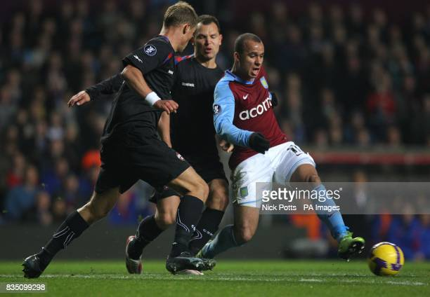 Aston Villa's Gabriel Agbonlahor and CSKA Moscow's Vasili Berezutsky battle for the ball
