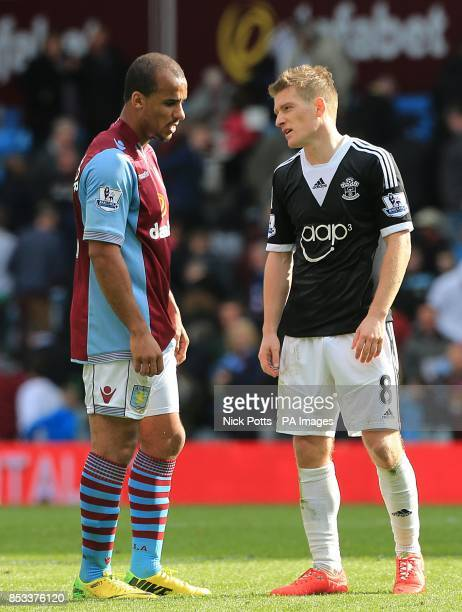 Aston Villa's Gabriel Agbonlahor and Southampton's Steven Davis both look disappointed at the 00 result as the final whistle blows