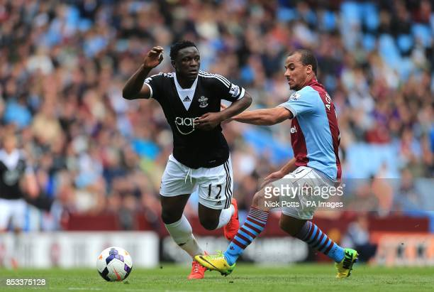 Aston Villa's Gabriel Agbonlahor and Southampton's Victor Wanyama battle for the ball
