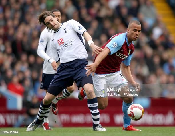 Aston Villa's Gabriel Agbonlahor and Tottenham Hotspur's Jonathan Woodgate battle for the ball