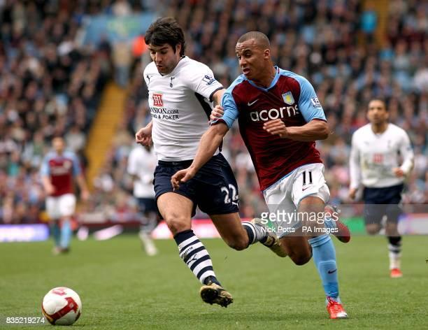 Aston Villa's Gabriel Agbonlahor and Tottenham Hotspur's Vedran Corluka battle for the ball