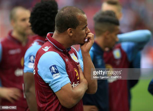 Aston Villa's Gabriel Agbonlahor appears dejected