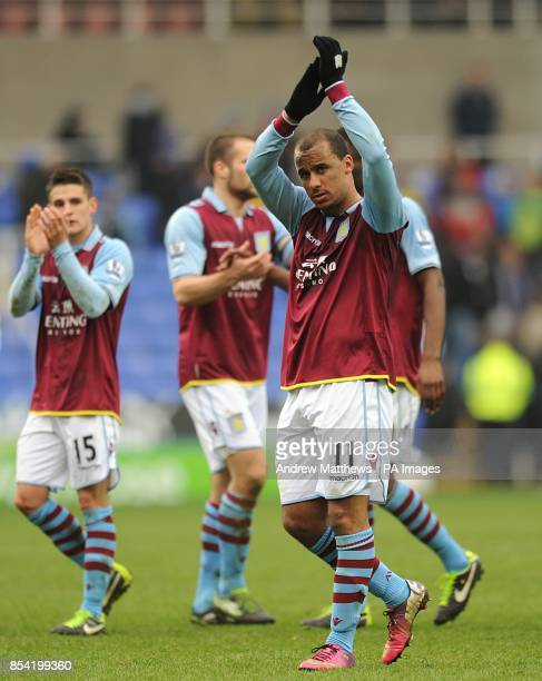 Aston Villa's Gabriel Agbonlahor applauds the travelling fans as he celebrates victory after the final whistle
