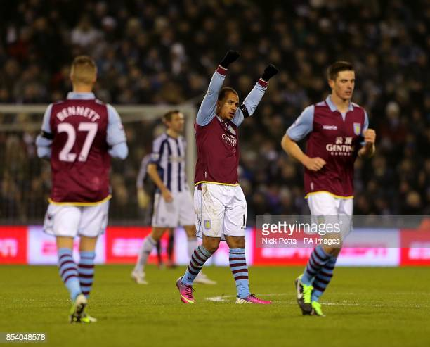 Aston Villa's Gabriel Agbonlahor celebrates after scoring his team's second goal