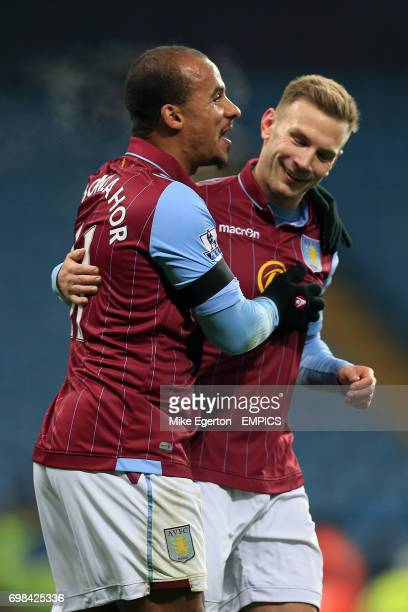 Aston Villa's Gabriel Agbonlahor celebrates his goal with teammate Andreas Weimann